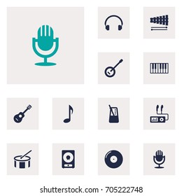 Set Of 12 Song Icons Set.Collection Of Amplifier, Tambourine, Percussion And Other Elements.