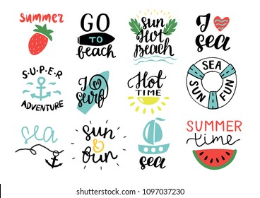 Set of 12 summer logo with hand lettering Hot time, I love surf, Sea, Go to beach, Super adventure, Sun. Vacation. Marine background. Icon.