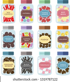 Set of 12 sweets jars with cute colorful candy vector illustration hand drawn