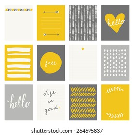 A set of 12 templates for greeting cards in yellow, gray and white. Floral designs, hand lettering and abstract brush stroke patterns with space for text.