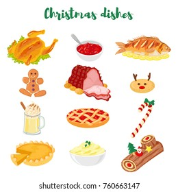 Set of 12 traditional christmas dishes. Turkey, cranberry sauce, fried fish, gingerbread man, ham, cookie, eggnog, cherry pie, candy stick, pumpkin pie, mashed potatoes, yule log.