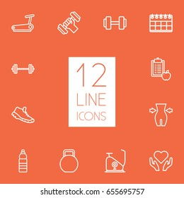Set Of 12 Training Outline Icons Set.Collection Of Running Track, Diet, Exercise Bike And Other Elements.
