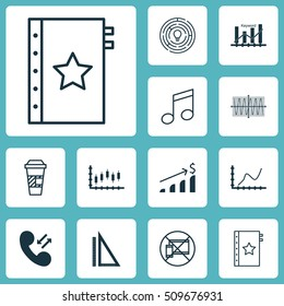 Set Of 12 Universal Editable Icons. Can Be Used For Web, Mobile And App Design. Includes Icons Such As Stock Market, Sinus Graph, Crotchets And More.