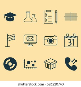Set Of 12 Universal Editable Icons. Can Be Used For Web, Mobile And App Design. Includes Elements Such As Reminder, Graduation, Date And More.