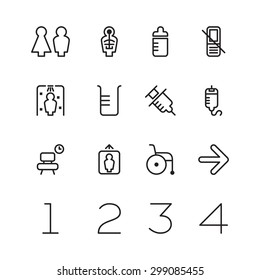Set of 12 various medical icons with numbers.