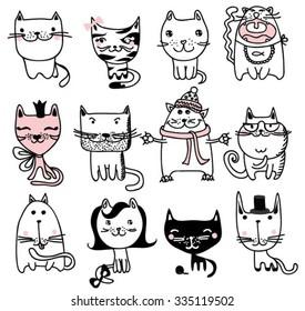 Set of 12 Vector doodle cute cats avatars