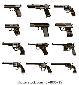A set of 12 vector icons of black pistols and revolvers