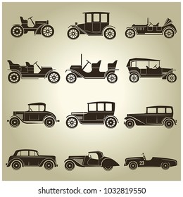 Set of 12 vector icons of vintage cars on a beige background