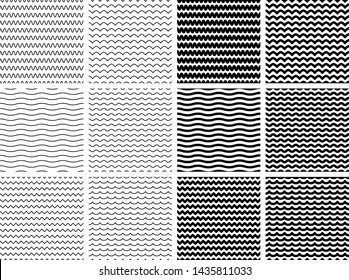 Set of 12 wave patterns in thin and thick