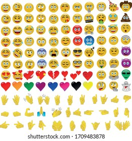 Set with 120 emojis, pack with emoticons and hands vector icons.