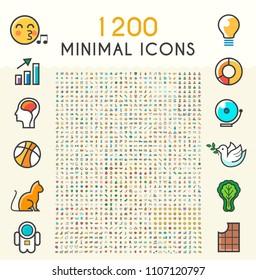 Set von 1200 Minimalistischen Solid Line gefärbten Netzwerk-Icons . Einzelne Vektorelemente