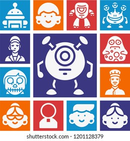 Set of 13 avatar filled icons such as priest, skull, clerk, chef, robot, cyclops, monster