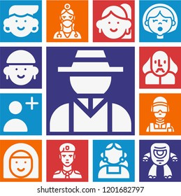 Set of 13 avatar filled icons such as girl, mexican, spy, dentist, soldier, follow, shakespeare, cyclops