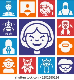 Set of 13 avatar filled icons such as girl, scientist, bellboy, engineering, followers, news reporter, monster, cyclops