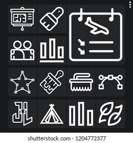 Set of 13 banner outline icons such as brush, ecology, , presentation, arrivals, justice league, s, tent, bar chart