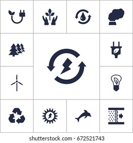 Set Of 13 Bio Icons Set.Collection Of Saving, Contamination, Purification And Other Elements.
