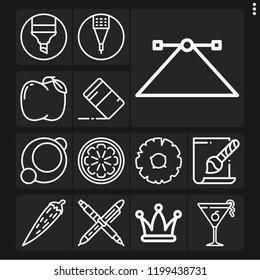 Set of 13 color outline icons such as hat, cosmopolitan, svg file, orange, eraser, pen, chili pepper, apple, pineapple, pencil, marker,