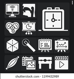 Set of 13 concept filled icons such as punishment, photo camera, pharynx, clapperboard, muscle, heart, wifi, pie chart, line chart, alarm clock, magic wand, cube