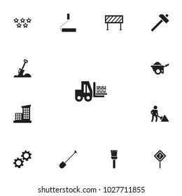 Set of 13 editable construction icons. Includes symbols such as road sign, shovel, architecture and more. Can be used for web, mobile, UI and infographic design.