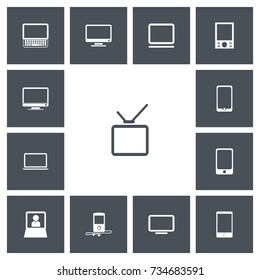Set Of 13 Editable Gadget Icons. Includes Symbols Such As Mp3 Player, Monitor, Smartphone And More. Can Be Used For Web, Mobile, UI And Infographic Design.