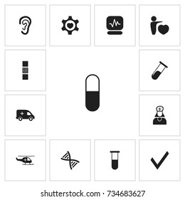 Set Of 13 Editable Health Icons. Includes Symbols Such As Medical Aviation, Emergency, Genome And More. Can Be Used For Web, Mobile, UI And Infographic Design.