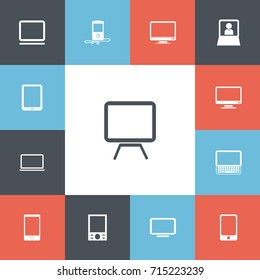 Set Of 13 Editable Instrument Icons. Includes Symbols Such As Smartphone, Computer, Music Phone And More. Can Be Used For Web, Mobile, UI And Infographic Design.
