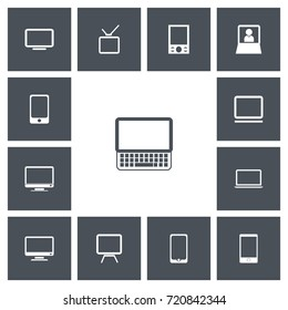 Set Of 13 Editable Instrument Icons. Includes Symbols Such As Telephone, Monitor, Television And More. Can Be Used For Web, Mobile, UI And Infographic Design.
