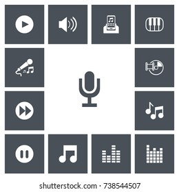 Set Of 13 Editable Music Icons. Includes Symbols Such As Bar Wave, Musical Symbol, Ahead And More. Can Be Used For Web, Mobile, UI And Infographic Design.