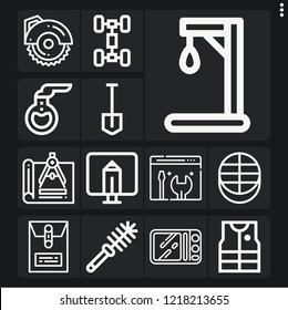 Set of 13 equipment outline icons such as gallow, circular saw, dossier, compass, toilet brush, chassis, monitor, florence flask, fishing vest, maintenance, microwave, shovel