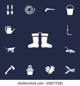 Set Of 13 Household Icons Set.Collection Of Bucket, Pruner, Rubber Boots And Other Elements.