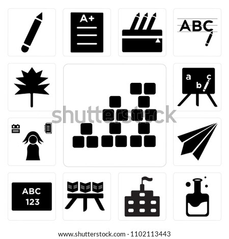 Set 13 Icons Such Periodic Table Stock Vector Royalty Free