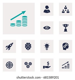 Set Of 13 Idea Icons Set.Collection Of Sponsor, Intelligence, Unity And Other Elements.