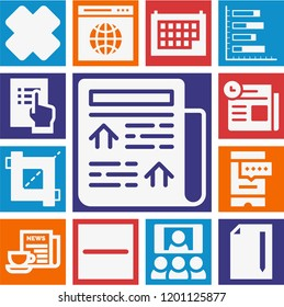 Set of 13 interface filled icons such as cross, multiple variable vertical bars graphic, newspaper, browser, crop, meeting, calendar, file, smartphone, checklist