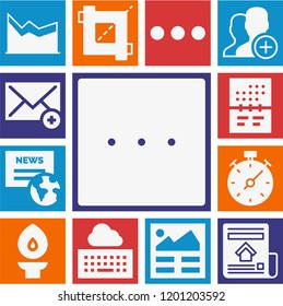 Set of 13 interface filled icons such as multiple variable points line chart, newspaper, stopwatch, crop, more, calendar, torch, email, article, user