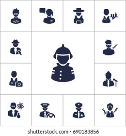 Set Of 13 Job Icons Set.Collection Of Officer, Driver, Rancher And Other Elements.