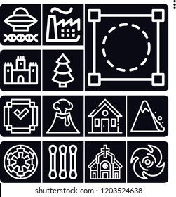 Set of 13 landscape outline icons such as castle, nuclear plant, house, church, crop, cotton, landslide, volcano, minecraft, cyclone, galactic empire, ancient aliens