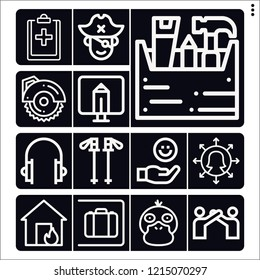 Set of 13 man outline icons such as carpenter, circular saw, manager, house, psyduck, left luggage, monitor, long john silver, hiking, health, relationship, hand