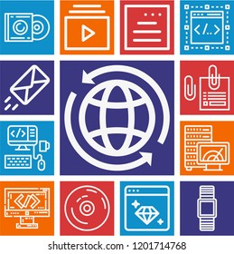 Set of 13 multimedia outline icons such as smartwatch, browser, coding, album, vynil, playlist, speedometer, worldwide, website, envelope