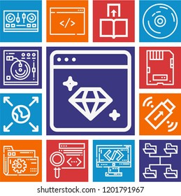 Set of 13 multimedia outline icons such as coding, mixing, vynil, folder, earth globe, pendrive, transfer, cd, share