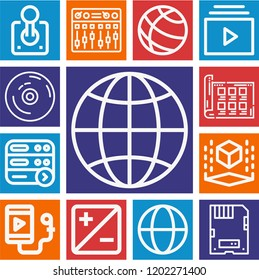 Set of 13 multimedia outline icons such as cube, mixing, vynil, playlist, server, earth globe, globe, worldwide, storyboard, exposure, joystick, ipod