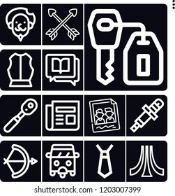 Set of 13 old outline icons such as armour, arch, rickshaw, atari, spark plug, wrench, literature, don quixote, memories, key, newspaper, crossed arrows