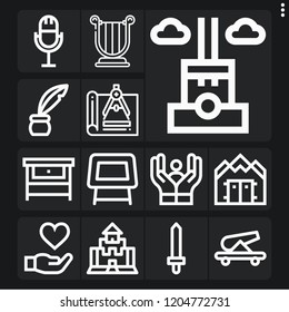 Set of 13 old outline icons such as inkwell, sword, cannon, compass, harp, table, chimney, war shelter, workbench, medieval, care