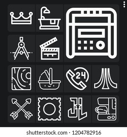Set of 13 retro outline icons such as crown, wood, compass, hours, lsd, justice league, atari, radio, carrycot, coffee, bathtub, clapperboard