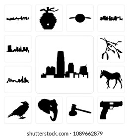 8f16e74048047 Set Of 13 simple editable icons such as new jersey outline on white  background