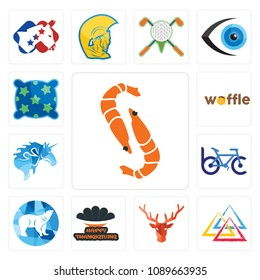 Set Of 13 simple editable icons such as shrimp, three triangle, deer head, happy thanksgiving, polar, bike club, , waffle, pillow can be used for mobile, web UI, 48x48 icon