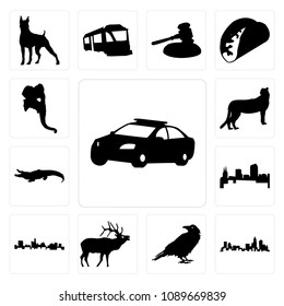 ef8280e55d459 Set Of 13 simple editable icons such as police car outline on white  background