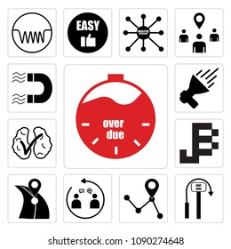 Set Of 13 simple editable icons such as overdue, next level, roadmap, customer engagement, beta, understand, brand awareness, retention can be used for mobile, web UI, pixel perfect icons