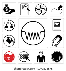 Set Of 13 simple editable icons such as induction, dimmable, understand, brick and mortar, overdue, retention, scholarship, case study, customer engagement can be used for mobile, web UI, pixel perfect icons