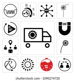 Set Of 13 simple editable icons such as supply chain, customer engagement, overdue, chiller, rx, dandelion, you are here, induction, photo coming soon can be used for mobile, web UI, pixel perfect icons