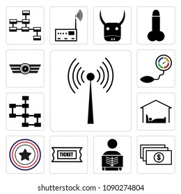 Set Of 13 simple editable icons such as rf, accounts payable, radiologist, support ticket, Airforce, accomodation, database schema, pressure sensor, Airforce can be used for mobile, web UI, pixel perfect icons